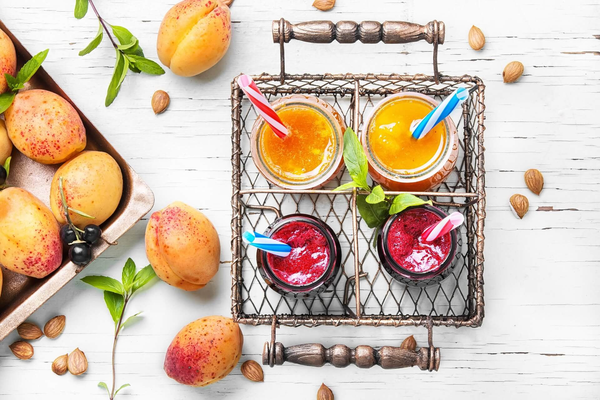fresh smoothies with apricot in an instagrammable setting