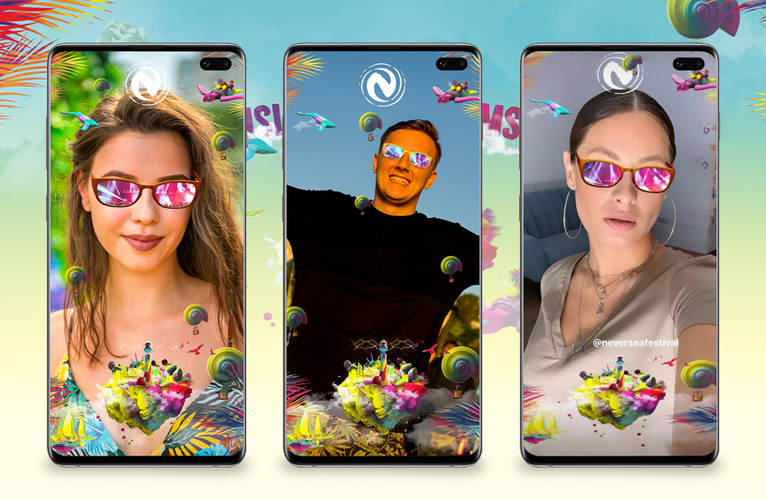 collage of 3 smartphone mockups showcasing neversea ar glasses filter