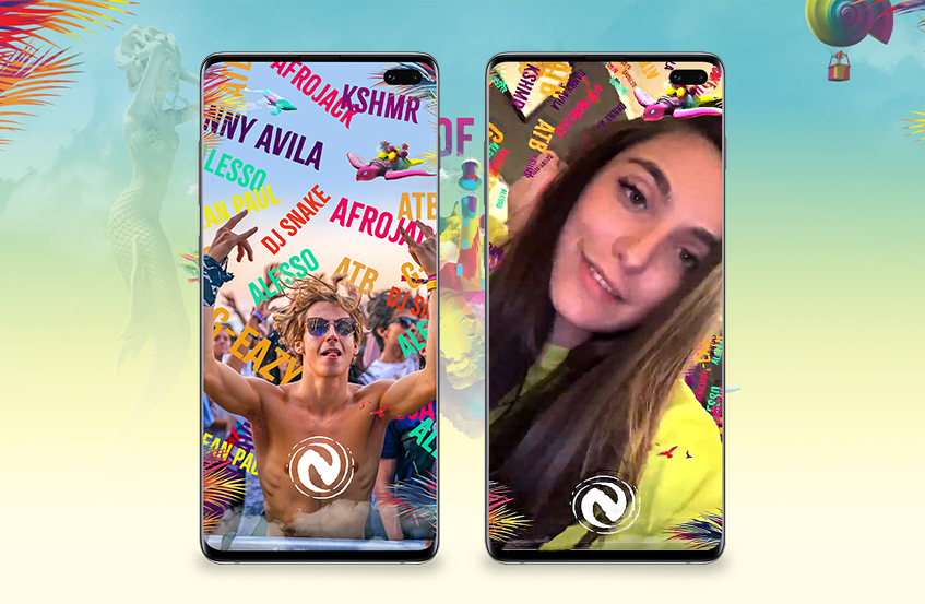 collage of 2 smartphone mockups showcasing neversea ar artist lineup ar filter