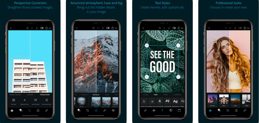 photoshop express app presentation as a video editor for Instagram posts