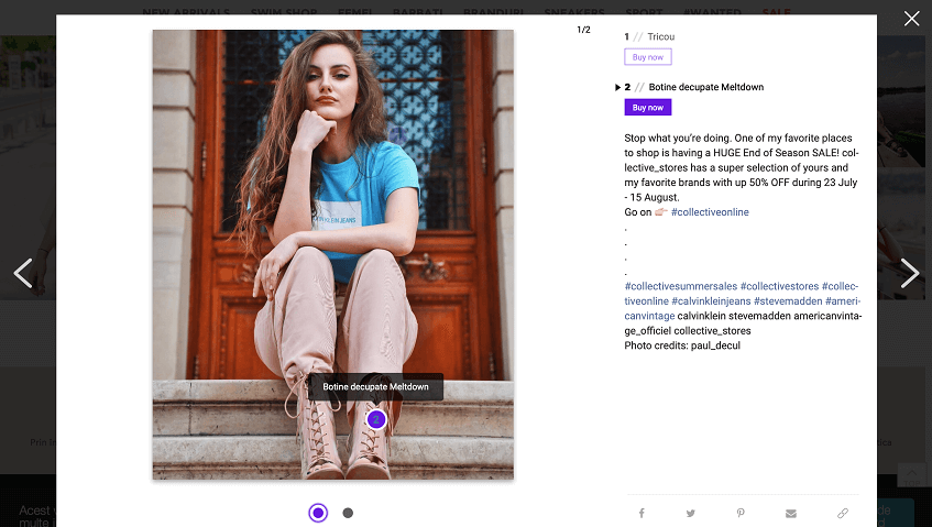screenshot of a quick window with product details from Collective's shoppable gallery
