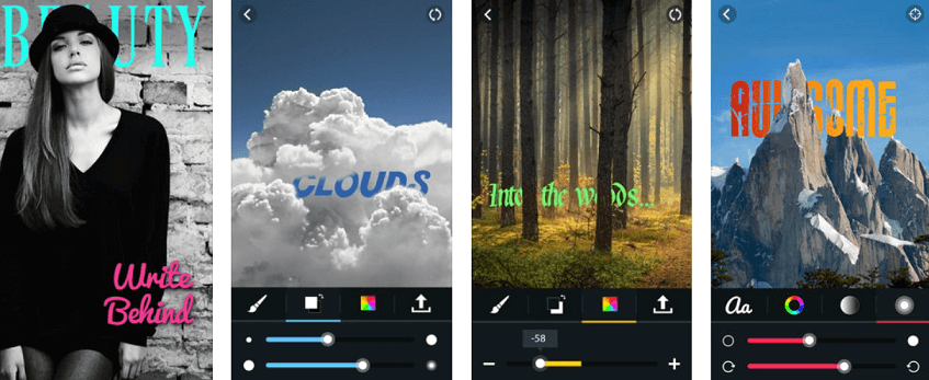 write behind app presentation as a text editor for Instagram posts