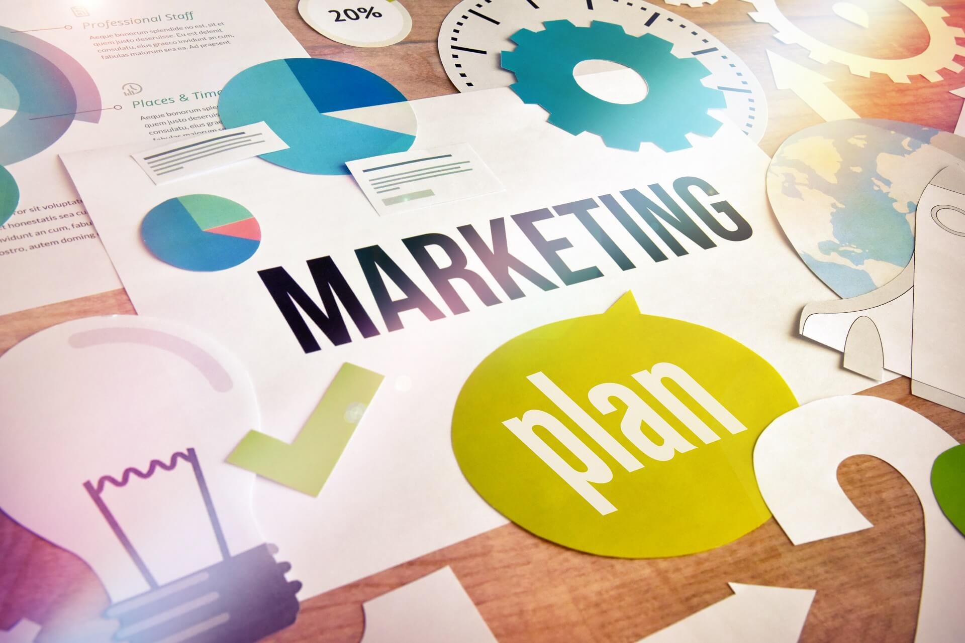 marketing plan concept with business symbols for great idea, international campaign, strategy, 20% increase